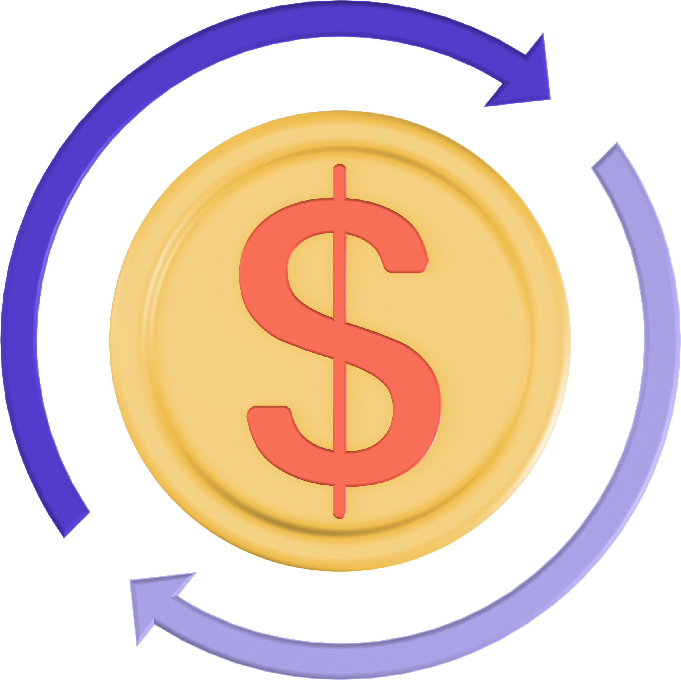 Dollar sign with two arrows going around it.